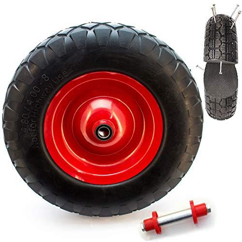 Schubkarren-rad Vollgummi - 4.80 4.00-8 Vollgummireifen für die Schubkarre Universal Einsetzbarer Schubkarren-Reifen mit Präzisionskugellager PU auf Stahlfelge mit 200kg Traglast -