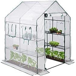 Relax Days Serre de Jardin 4 Fenêtres Serre Tomates 2m² 2 Étagères Tunnel Tente Plantes Hxlxp: 190x140x140cm, transparent