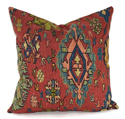 Mike21Browne Red Blue Green Teal Gold Ikat Throw Pillow Cover Kilim Rug Design Pillow Cover 18x18 Ralph Lauren Ibiza Rug Fabric Southwest Design - Lauren-cover-set Ralph