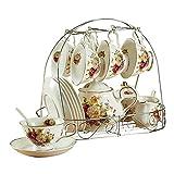 ufengke® bianco e rosso Rose Fiore 15 Pezzo europeo-Stile Ceramica Servizio da tè servizio da caffè