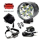 Luci Per Bici, YEHOLDING 7000 Lumen 5 x CREE T6 XM-L LED Bici Luce/ Luci per bicicletta / Bike Lights / Ricaricabile LED Luce Della Bici Set (Luce Anteriore + Luce Posteriore), Batterie Incluse, Per Bicycle Ciclismo MTB ,Camping, Hiking, Caving Expedition (T5)