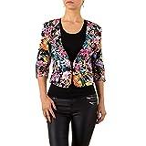 Schuhcity24 Damen Jacke Blazer Business festlich Kurz Bolero Jacke Spitzen Jäckchen Pink 34
