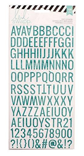 American Crafts Heidi Swapp 10268595Schablone zum Specialty Aufkleber Puffy Alphabet/Blaugrün Glitzer, Acryl, Mehrfarbig - Heidi Swapp-alphabet