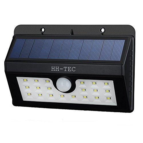 HH-TEC Solarleuchte 20 LED Solarlampe Wasserdichte Solar Betriebene Außenleuchte Sicherheits-, Bewegungs Licht Sensor mit 3 Intelligenten Modi