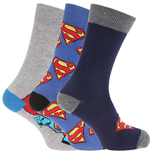 3x-Pairs-Mens-or-Boys-Official-DC-Comics-Superman-Superhero-Character-Socks-UK-6-11-Eur-39-45