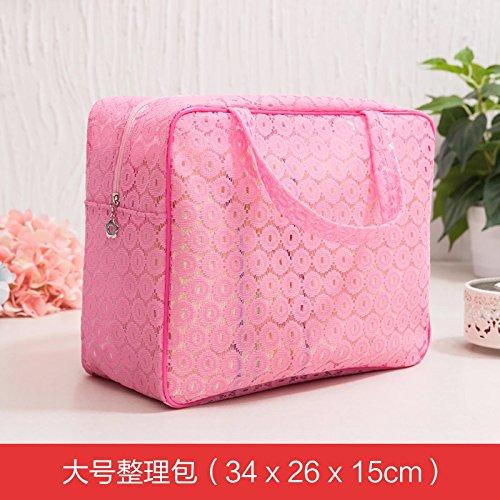 LULAN Kosmetik Tasche verfügt über ein kleines kompaktes tragbares Mass teenage Herz griff Paket Doppelwaschtisch Fall Lazy Bones, große Grooming Kit Pink (Großes Grooming)