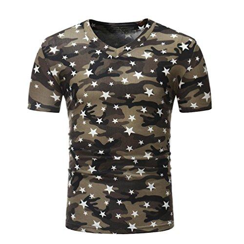 Herren Shirt, Camouflouge Gedruckt V-Neck Regular Sweatshirt Sportswear T-Shirt Top Blouse Muscle Shirt (M, Schwarz)
