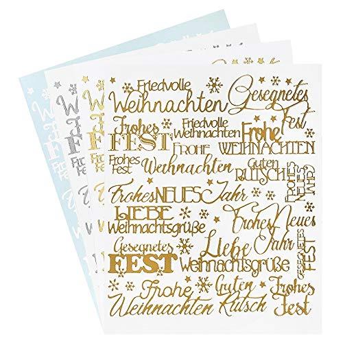 Ideen mit Herz Sticker Handlettering Art   Aufkleber   Verschiedene Schriftzüge zur Hochzeit, Liebe, Trauer, Weihnachten, Ostern UVM.   Jeweils 4 Bogen à 20 x 23 cm (Weihnachten) -