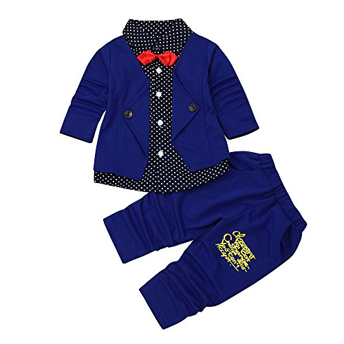 Babykleidung Set,Beikoard Kind Baby Boy Gentry Kleidung Set Formelle Party Taufe Hochzeit Smoking Bow Suit Gefälschter Zweiteiliger Anzug (Dark Blue-2, M/90)
