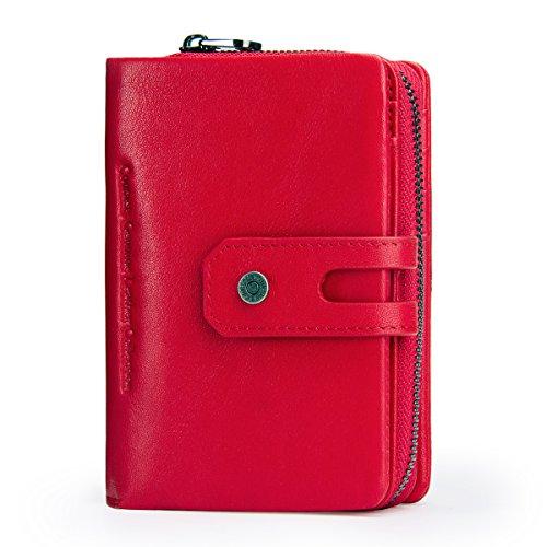 Contacts Echtes Leder Damen Trifold Coin Kartenhalter Clutch Reißverschluss Geldbörse Purse Wallet (rot) (Wallet Tri-fold Coin)