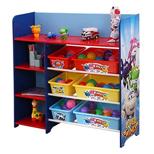 HS-Lighting Kinderregal Spielzeugregal mit 6 Boxen und 4 Ablage Kinder Spielzeug-Organizer Bücherregal Kinderzimmer Möbel BHT: 92.5x90x30cm (Kinder-spielzeug-organizer-ablagen)