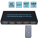 FiveHome 4K@30Hz 5x1 HDMI Switch 5 Entrées 1 Sortie Switch HDMI Commutateur Compatible pour Une télécommande à Distance avec Infrarouge HDCP 1.4,Full HD/3D