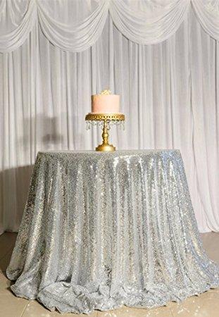 shinybeauty 96en argent rond Sweetheart tablesequin gâteau Nappe revêtement à paillettes Décoration Mariage Bling cas Sparkle Party de draps