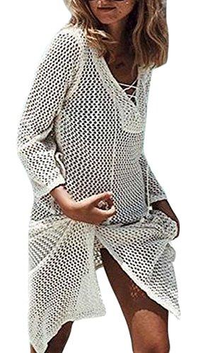 La Vogue-Vestito da Spiaggia Donna Swimwear Fishnet Scollo V Cardigan Beige