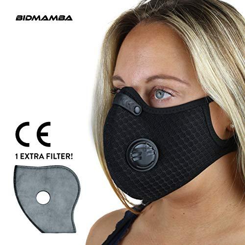 BidMamba Staubmaske Atemschutzmaske Mundmaske Fahrradmaske | Aktivkohle Filtration Auspuff Gas Anti Pollen Allergie Mit Ventil Pm 2.5 | Motorrad Radsport Training Running Radfahren (Mesh-Material)