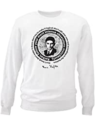 Teesquare1st Men's FRANZ KAFKA - DON´T BEND_ DON´T WATER IT DOWN White Sweatshirt
