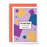 Bonne Chance carte Funny Rude–vers un Bas ASS Bitch #–– Girl Power ami Gay Lesbian Féministe carte carte de vœux pour SES amis Joke Naughty Cardshit meilleure carte Shit Girl Power