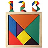 #10: Puzzle - Multi-Color DIY Wooden Geometric Shape Toy IQ Game Jigsaw Intelligent Tangram Brain Teaser Puzzle - Children Early Education Toy by KARP