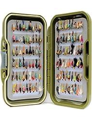 Vert étanche Fly Box Inc mixtes assorties Nymphe truite Pêche mouches–Taille de 8, 10, 12, 14, 16ou 18, Lot de 10, 25, 50, 100