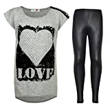 Kinder Mädchen LOVE Bedruckt Trendiges Oberteil & Fashion Wetlook Leggings Set 7 8 9 10 jahre alt 11 12 13 Jahre - Trendy Love Top & Wetlook Leggings, 134-140