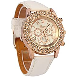 Atdoshop(TM) Vogue Women Ladies Fashion Crystal Dial Quartz Analog Leather Bracelet Wrist Watch