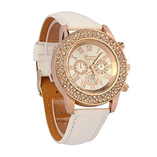 - 51FeWM zbVL - Atdoshop(TM) Vogue Women Ladies Fashion Crystal Dial Quartz Analog Leather Bracelet Wrist Watch