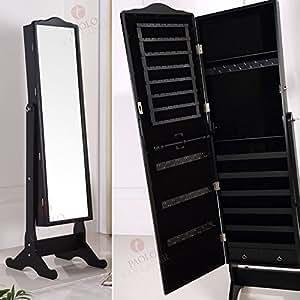 schmuckschrank standspiegel spiegelschrank 156 cm schwarz. Black Bedroom Furniture Sets. Home Design Ideas