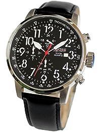 No limit Nautec hombre-reloj analógico de cuarzo cuero Air Traveller AIRTR-QZ-LTST-BK