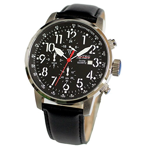 Nautec No Limit Herren-Armbanduhr Air Traveller Analog Quarz Leder AIRTR-QZ-LTST-BK