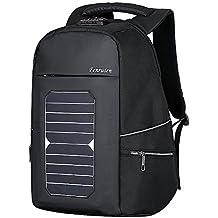 Eshow Mochila Solar con Panel Impermeable para Ordenador Portátil 15.6 Pulgadas de Seguridad con USB Puerto