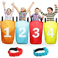 ‏‪Boley 4 Pack Sack Race Bag Set and 2 Piece Leg Straps – Includes 4 Burlap Sack Race Bags and 2 Velcro Leg Straps for Three Legged Relays – Great for Outdoor Party Activities, Picnics, Birthday Parties‬‏