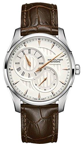 Hamilton Jazzmaster Regulator coche/reloj para hombre y esfera plata/caja acero/correa piel Marrón