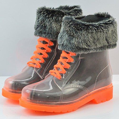 LvRao Damen Schnee Regen Schuhe Warm Transparente Stiefeletten Gefütterte Gummistiefel Wasserdichte Kurze Stiefel mit Schnürsenkel Orange mit Fell