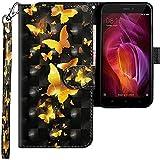 CLM-Tech kompatibel mit Xiaomi Redmi Note 4 Hülle, Tasche aus Kunstleder, Schmetterlinge Gold schwarz, PU Leder-Tasche für Xiaomi Redmi Note 4 / Note 4X Lederhülle