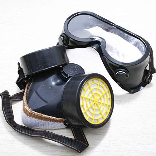 Schutzfilter, Doppel-Gasmaske, Silikon, gegen Staub, Sprühfarbe, Atemschutzmaske, Schutzmaske mit Brille, Sicherheitsmaske, Doppelschutzfilter (schwarz), schwarz