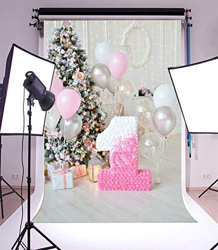 GzHQ 5x7ft Fotografie 1. Geburtstag eine erste Pinata Geburtstag Urlaub Party Dekoration Luftballons Weihnachtsbaum Geschenkbox glänzend Interieur Kuchen zerschlagen Kinder persönliche Porträts (Geburtstag Erster Pinata)