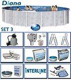 Interline 50000037 Diana Auf- und Erdeinbau POOLSET 3 Stahlwandpool 3,60m x 1,32m mit Sandfilter Set 4,0m³/h