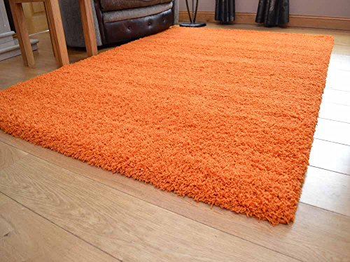Tacto suave Shaggy naranja suave y gruesa 5 cm alfombra de pelo denso. Disponible en 7 tamaños, naranja, 120 x 170 cm