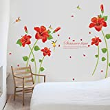 Kingko® Red Corn Poppy Pattern Wall Stickers Removable Decal Home Decor DIY Art Decoration