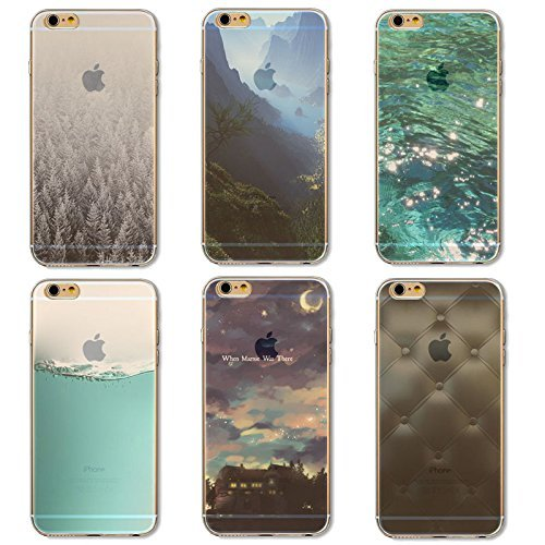 Coque iPhone 6 6s Housse étui-Case Transparent Liquid Crystal en TPU Silicone Clair,Protection Ultra Mince Premium,Coque Prime pour iPhone 6 6s-Paysage-style 6 6