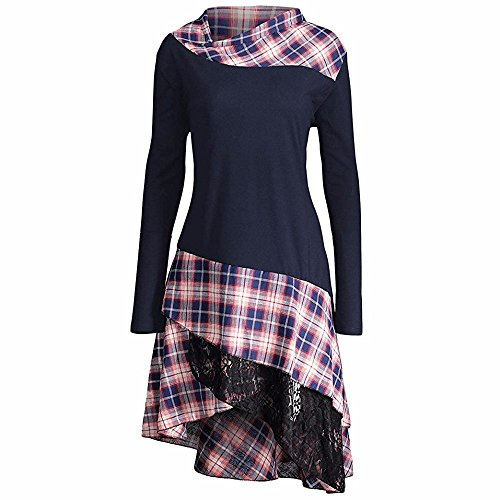 Gerippte Mock Neck Sweater (BHYDRY Damen Elegant ÜBergrößE Mock Neck Top Plaid Asymmetrisch T Shirt Kleider Spitzen Bluse Langarm Patchwork Partykleider Bluse Oberteile Pullover(XL,Marine))
