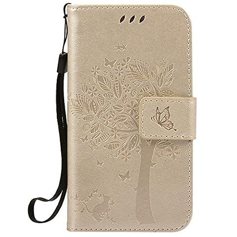 Jepson Samsung Galaxy S5 Mini / SM-G870 (4.5 pouces) coque , PU Cuir Portefeuille Etui Housse Case Cover , carte de crédit Fentes pour , L'utilisation de la technologie de pointe , gaufrage , Tree - Cat - Butterfly , idéal pour protéger votre téléphone