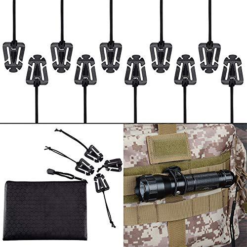 Boosteady 10 pezzi clip fibbia di tubo idrico acqua attacchi molle cinghie web dominators per zaino tattico militare con zippered pouch