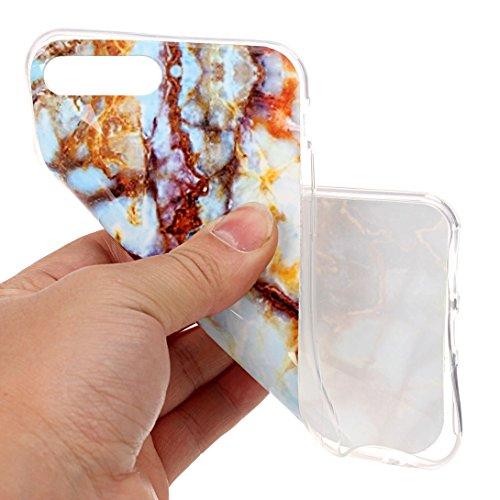 Pheant® Apple iPhone 7 Plus (5.5 pouces) Coque Gel Étui Souple Housse de Protection Bord Transparent Cas étui en TPU Silicone Motif de Marbre Couleur-04