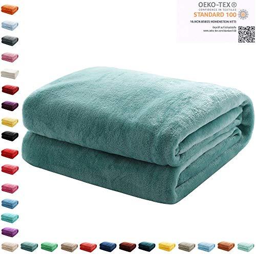 Mixibaby Kuscheldecke Flauschige extra weich & warm Wohndecke Flanell Fleecedecke, Falten beständig/Anti-verfärben als Sofadecke oder Bettüberwurf, Maße Decke Sarah:150 cm x 200 cm, Farbe:Teal