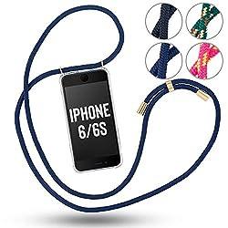 Handykette für iPhone 6 / iPhone 6s - Handytasche zum umhängen - Handyhülle mit Band - Farbe: Blau
