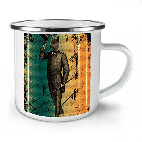 Wellcoda Wolf Retro Einzigartig Jahrgang Emaille-Becher, Nobel - 10 Unzen-Tasse - Kräftiger, griffiger Griff, Zweiseitiger Druck, Ideal für Camping und Outdoor (Kostüme Wolf Geschirr)