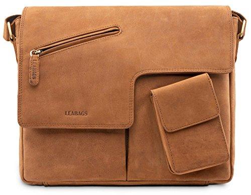 LEABAGS Manchester Schultertasche Laptoptasche 13 Zoll aus echtem Leder im Vintage Look - Braun