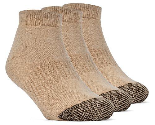 YolBer Jungen Socken, Sneakersocken, gepolsterte super weiche, Low cut Baumwollsocken - 3 Paar, Mittelgroß, Beige (Athletische Socken Jungen)