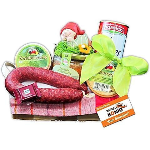 """Präsentkorb """"Der Beliebte"""" Geschenkkorb mit 3 Wurstgläsern, luftgetrockneter Mettwurst, Mini-Schokolade, Wiener Würstchen und einer schönen Deko von Wurst-König®"""